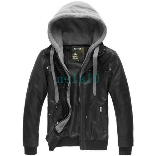 2018 Men's Faux Leather Jacket Removable Hood Motorcycle Coa