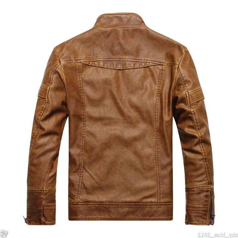2019 Men's Leather Fit Biker Motorcycle Jacket Coat