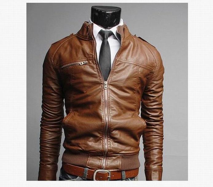 2019 Fashion Male Size 3XL Black Brown Mens Collar PU Coats Biker <font><b>Jackets</b></font>