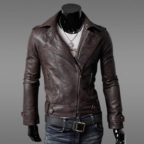 2019 New and Autumn <font><b>Men's</b></font> Motorcycle Slim <font><b>Jacket</b></font> <font><b>Leather</b></font> Color Fashion