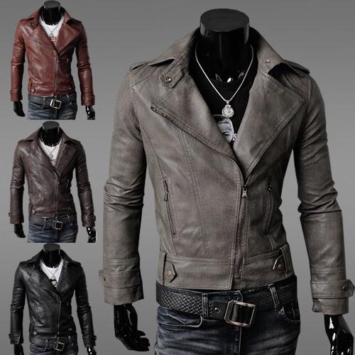 2019 New Autumn <font><b>Men's</b></font> <font><b>Jacket</b></font> <font><b>Leather</b></font> Color Casual Fashion