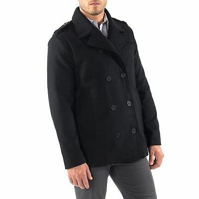 Alpine Swiss Mens Pea Coat Wool Double Breasted Jacket Peacoat