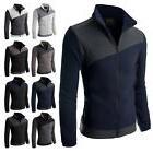 Doublju Men's Long Sleeve Colorblocked Fleece Zip-Up Jacket