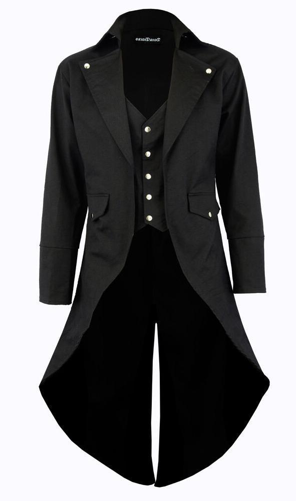 Men's Black Cotton Twill STEAMPUNK TAILCOAT Jacket Goth Vict