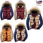 Men's Fur Collar Hooded Parka Winter Thicken Down Coat Outwe