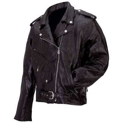 Men's Genuine Buffalo Leather Classic Black Motorcycle Biker