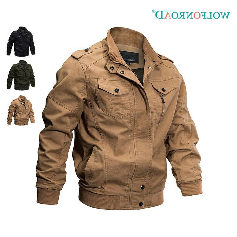 Mens Bomber Jackets Military Zipper Casual Work Jacket Army