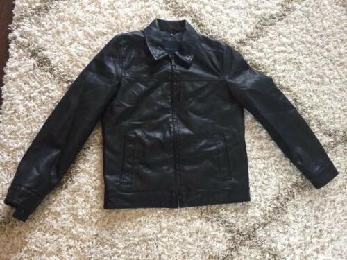 Tommy Hilfiger Men's Classic Faux Leather Jacket - Small Bla