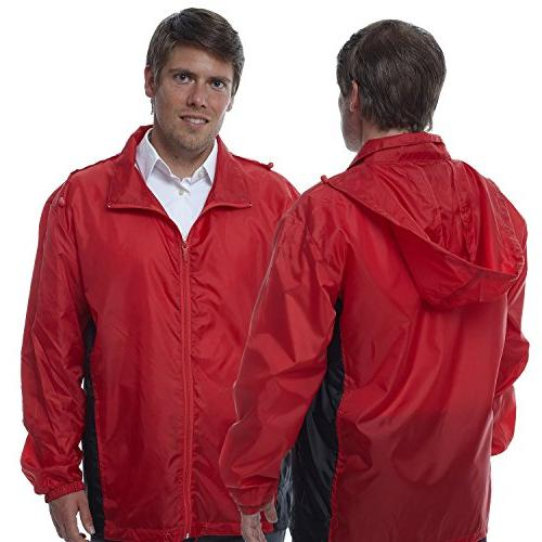 Totes TMP500 Men's Packable Rain Jacket Red With Black Mediu