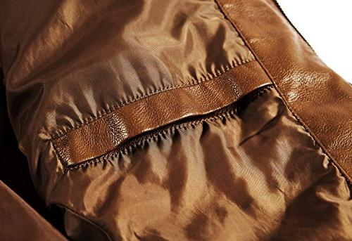 WULFUL Men's Stand Leather Jacket Faux Brown-S