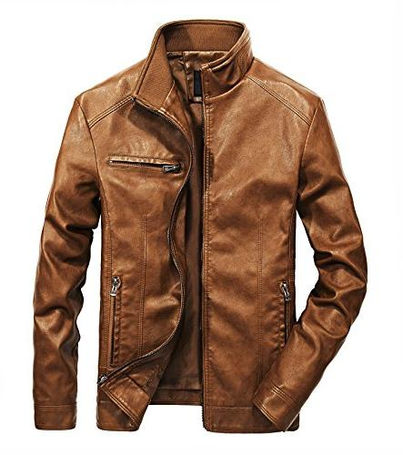 WULFUL Men's Stand Collar Leather Jacket Motorcyle Lightweig