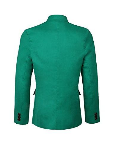 Allegra K Men Decor Slim Fit Double Flap Pockets Casual Blazer Green