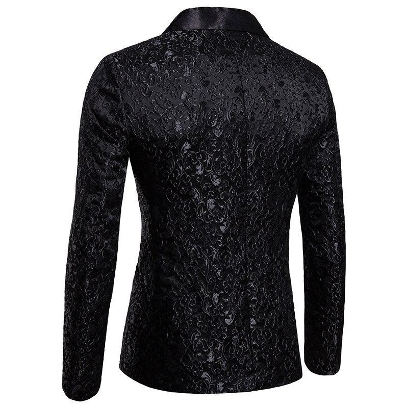 Black Jacquard Floral Blazer <font><b>Men</b></font> 2018 Luxury <font><b>Jacket</b></font> Stage Costume Homme