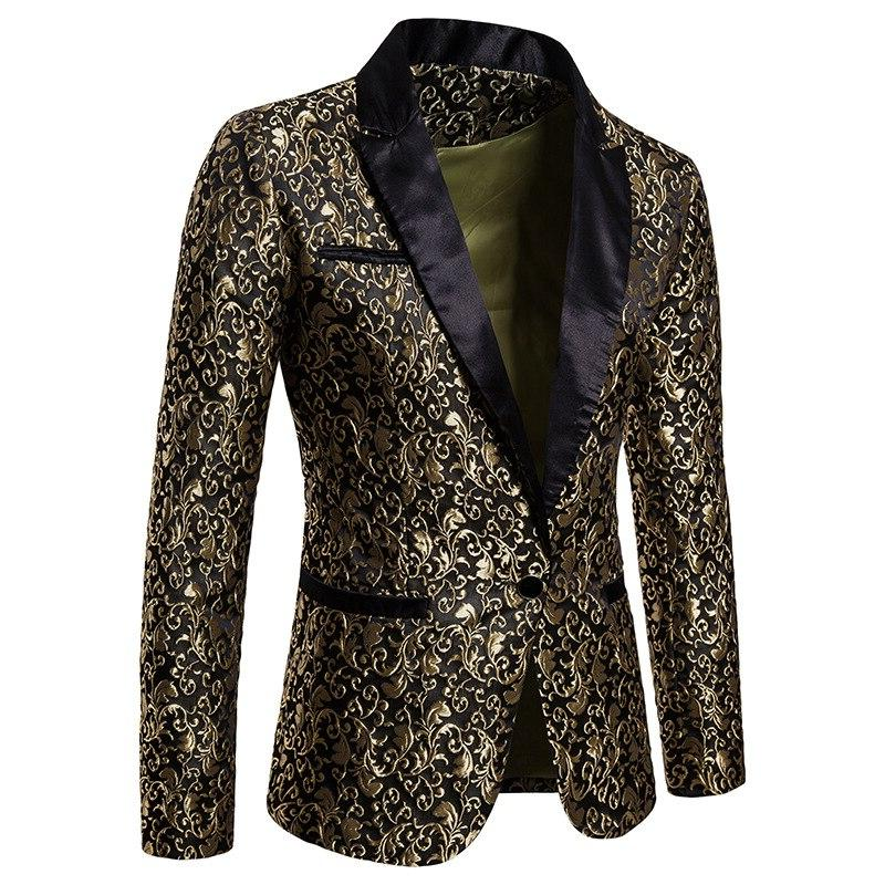 Black Jacquard Floral Blazer <font><b>Men</b></font> Brand <font><b>Jacket</b></font> <font><b>Men</b></font> Stage