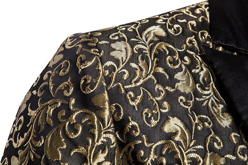 Black Jacquard Bronzing Brand Single Button Suit <font><b>Jacket</b></font> Wedding Party Stage