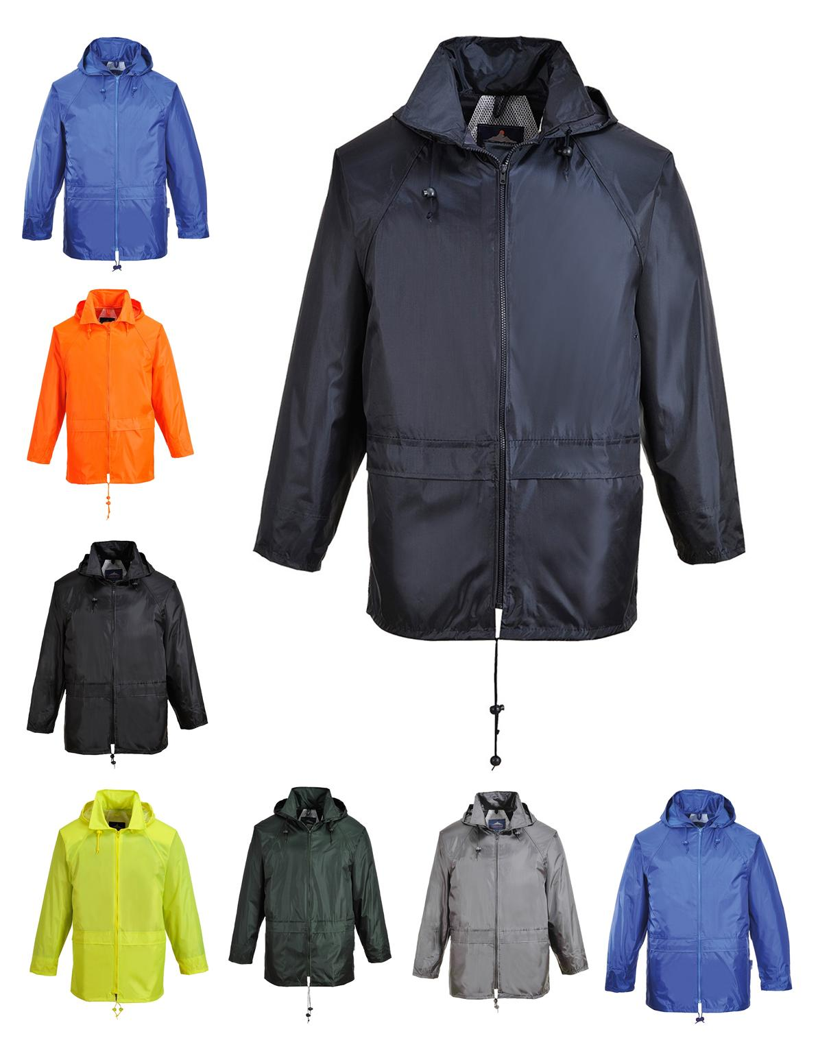 Portwest Classic Rain Jacket Waterproof Hooded Thermal Zippe