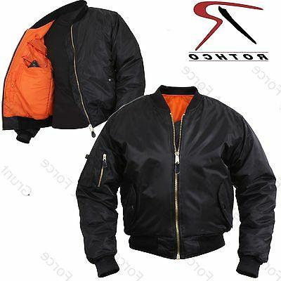 Concealed Carry MA-1 Flight Jacket - Mens Black Military Typ