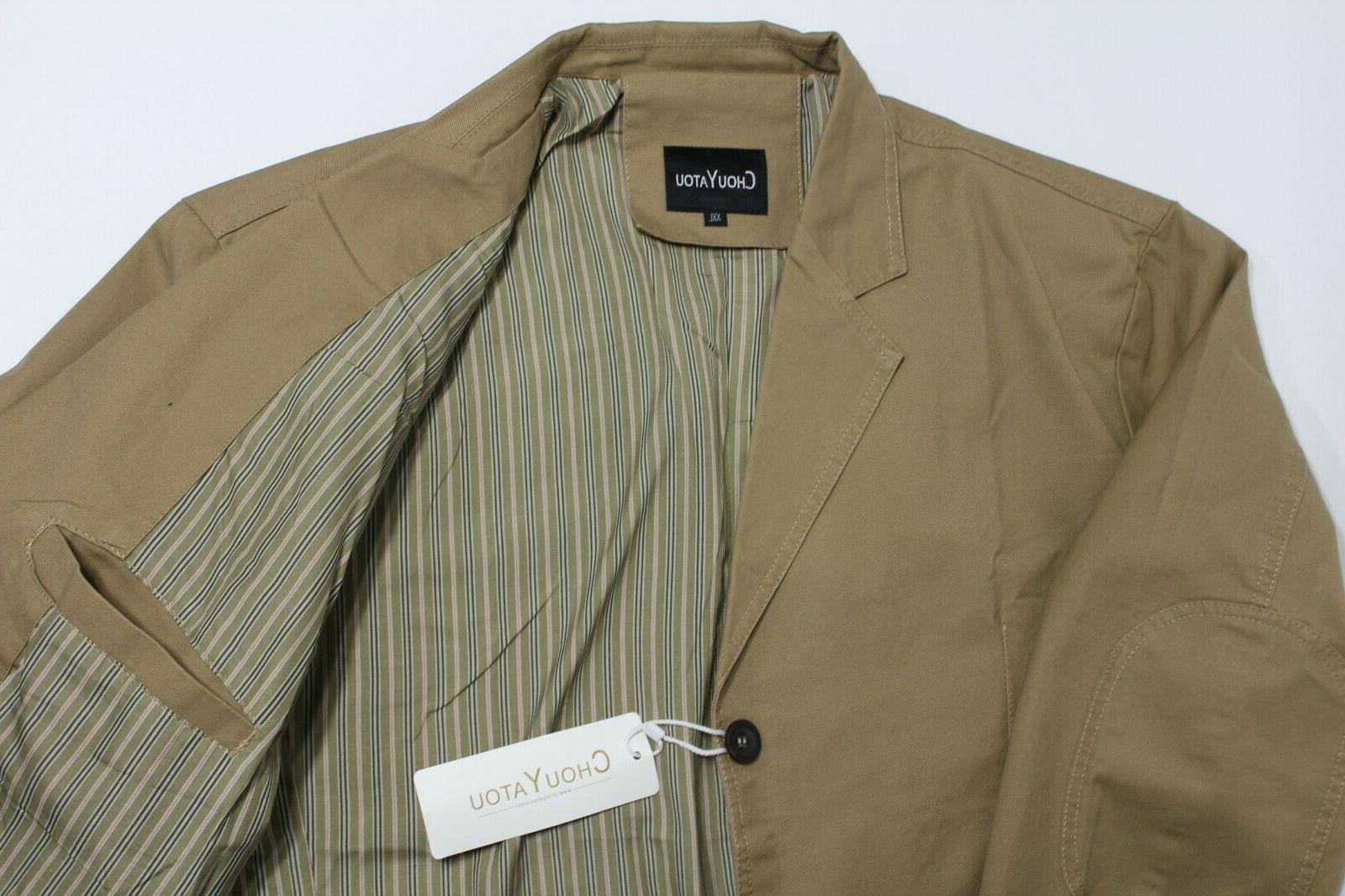 ChouYatou Cotton Twill Jacket, Men Size Khaki, 3 Button