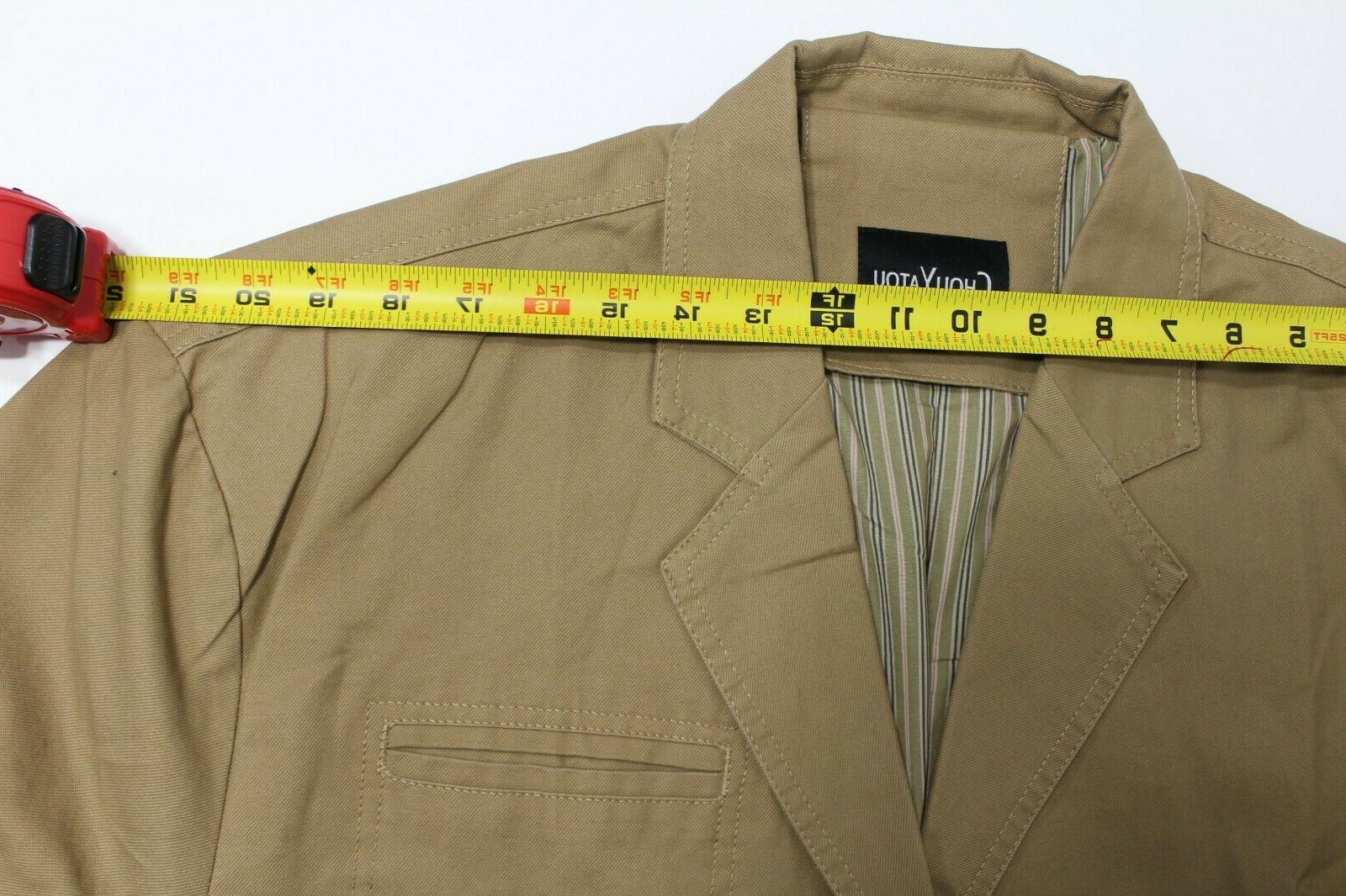 ChouYatou Jacket, Khaki, Stripe Lined, 3 Button