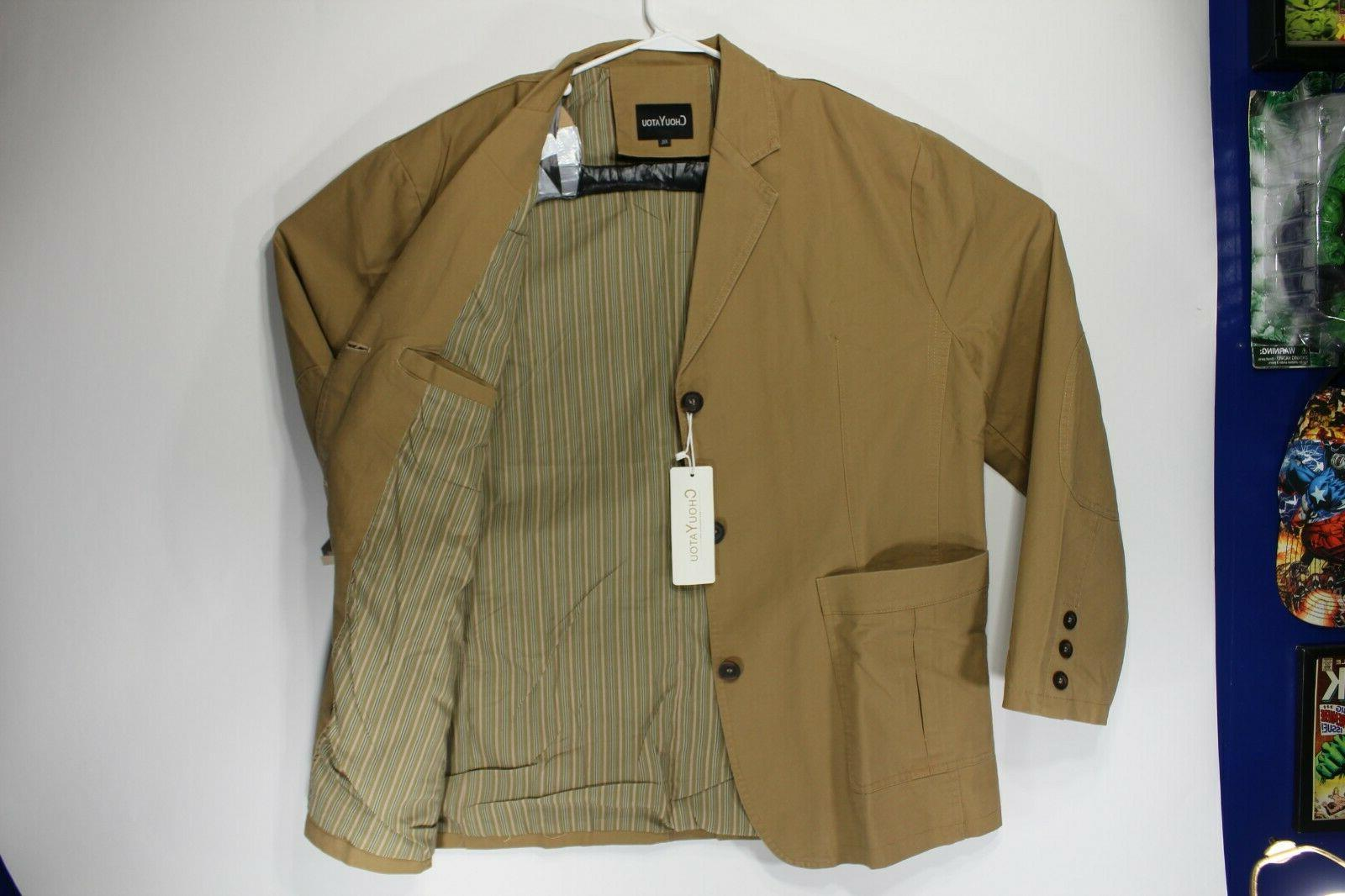 ChouYatou Cotton Twill Jacket, Khaki, Stripe Button