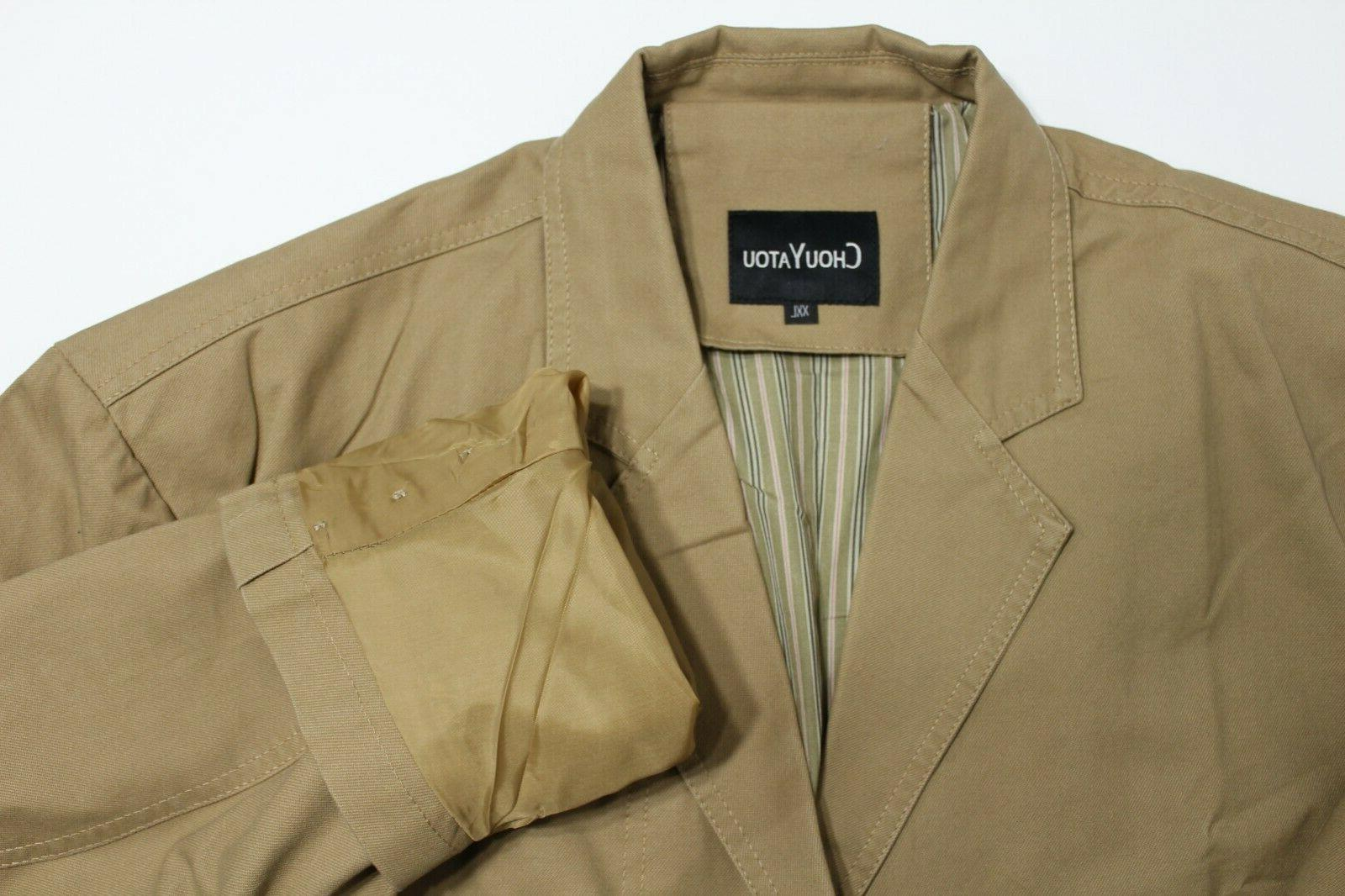 ChouYatou Cotton Jacket, Khaki, Button