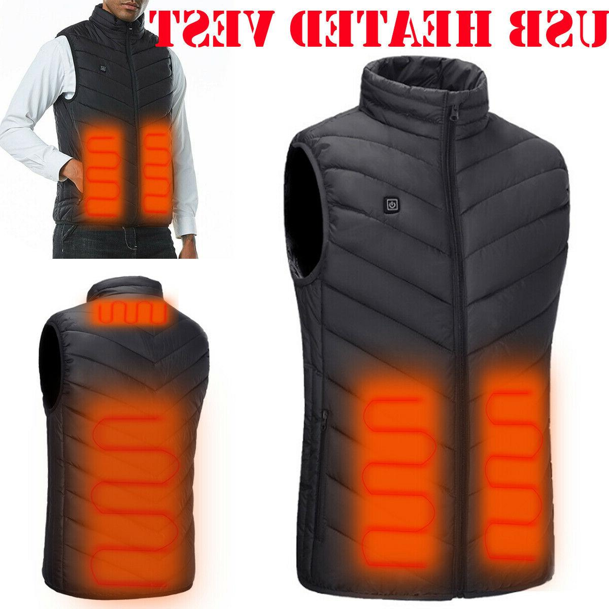 electric usb heated vest jacket coat warm