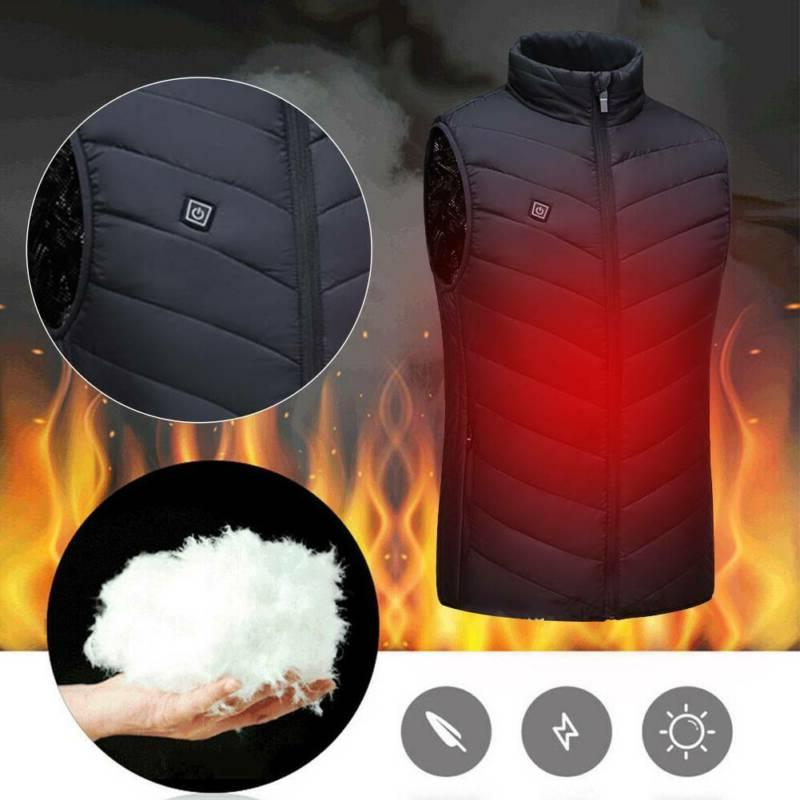Electric Vest Heated Cloth Jacket Up Heating Pad Winter Warmer US