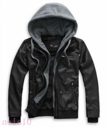 Fashion Men's Faux Leather Jacket Detachable Hood Motorcycle
