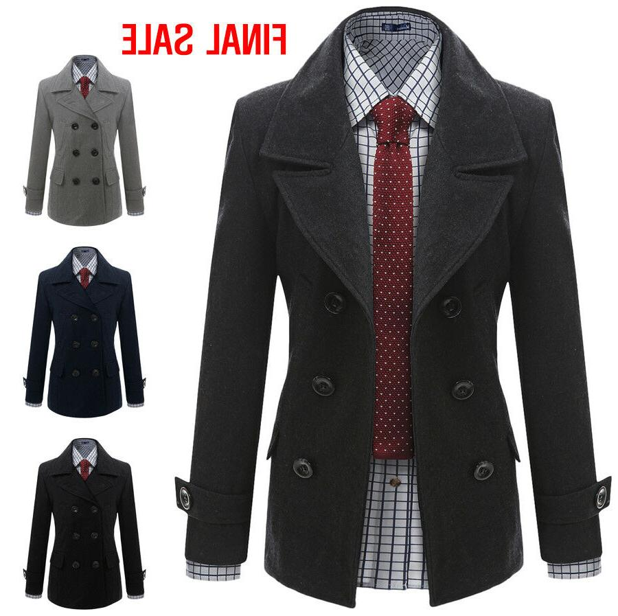 final sale mens casual double wool jacket