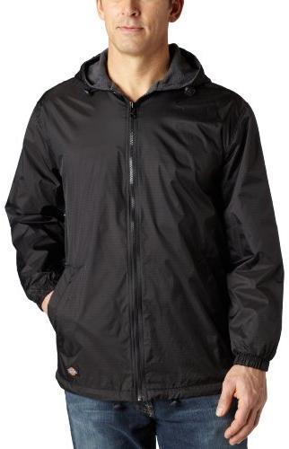 fleece lined hooded nylon jacket