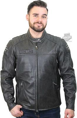 Harley-Davidson Mens Midway Distressed Charcoal Leather