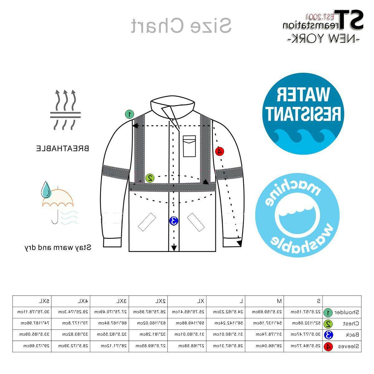 Hi-Vis Class Jacket Neon Reflective Resistant Road Coat Bomber