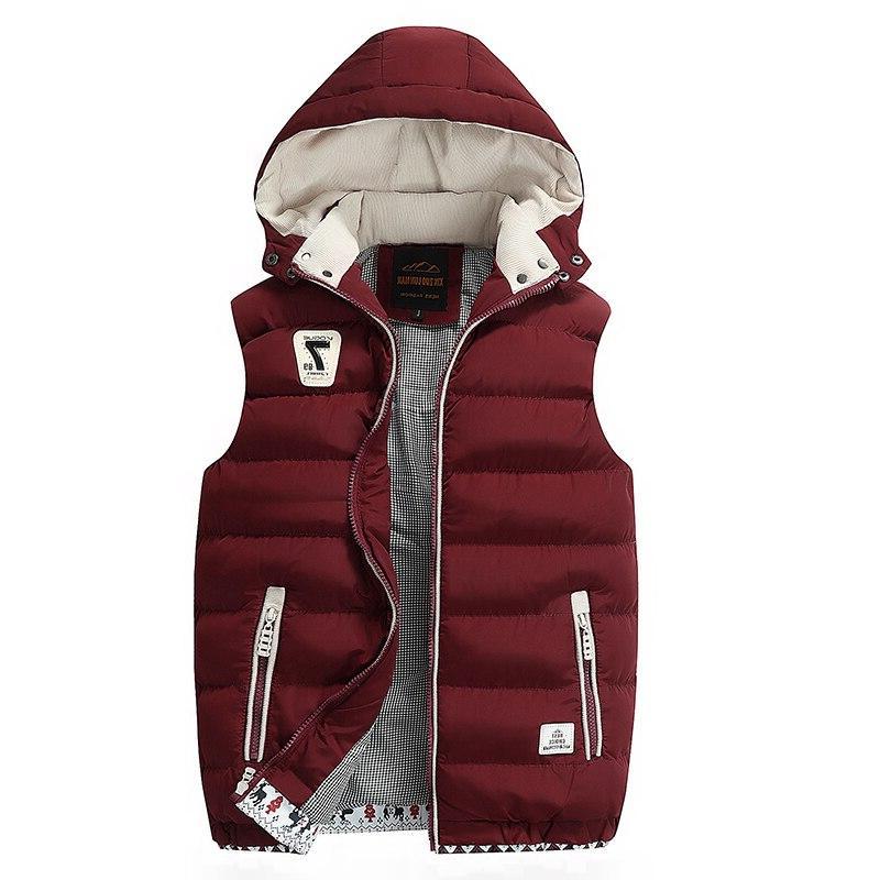 Hooded Winter 2019 Fleece Thick Warm <font><b>Soft</b></font> <font><b>Mens</b></font> Sleeveless Parkas