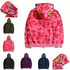 Hot Ape BAPE Men's Shark Jaw Camo Full Zipper Hoodie Sweats