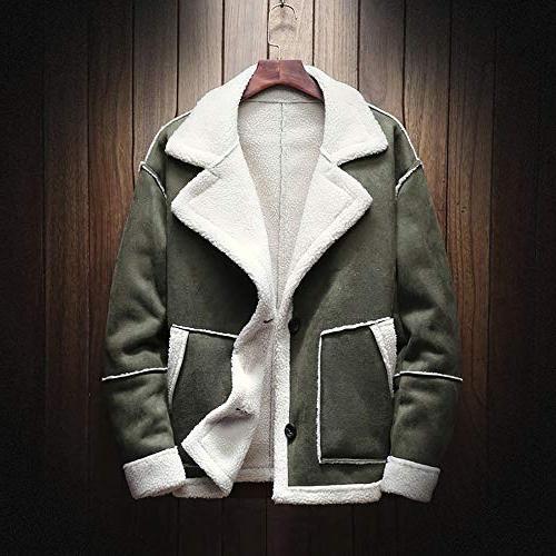 kemilove Men's Winter Jacket Button Long Suede