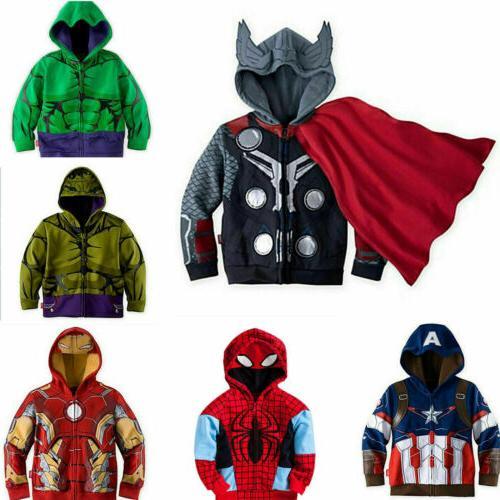 Kids Boys Superhero Hoodies Sweatshirt Coat Top Outfits Clothes