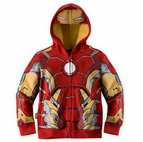 Kids Boys Superhero Sweatshirt Jacket Coat Outwear Top