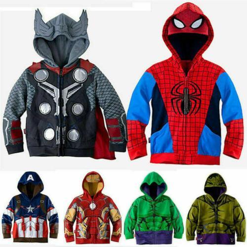 kids boys superhero hoodies sweatshirt jacket coat