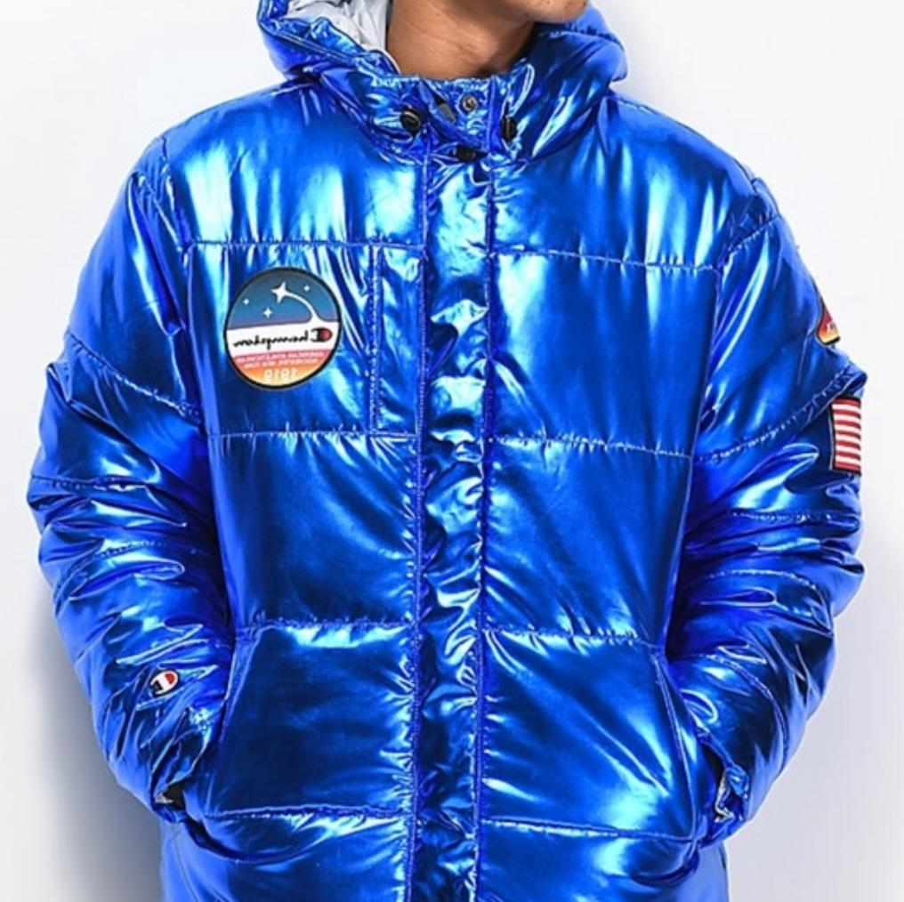 Champion Life Metallic Puffer NASA Space Quilted Puff Jacket