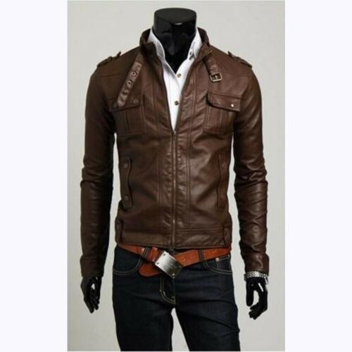 Luxury Men Faux Leather Jackets Slim Fit Zip Up Winter Coats
