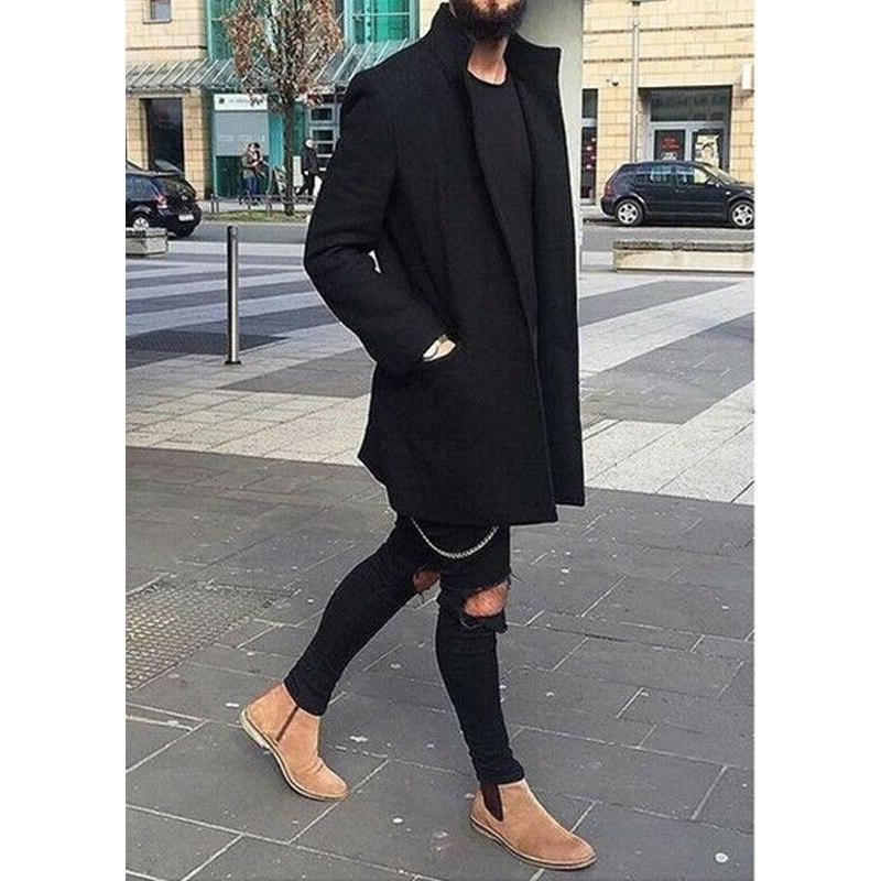 M-XXXL Autumn Casual Coat Thicken Trench Solid Overcoat Long