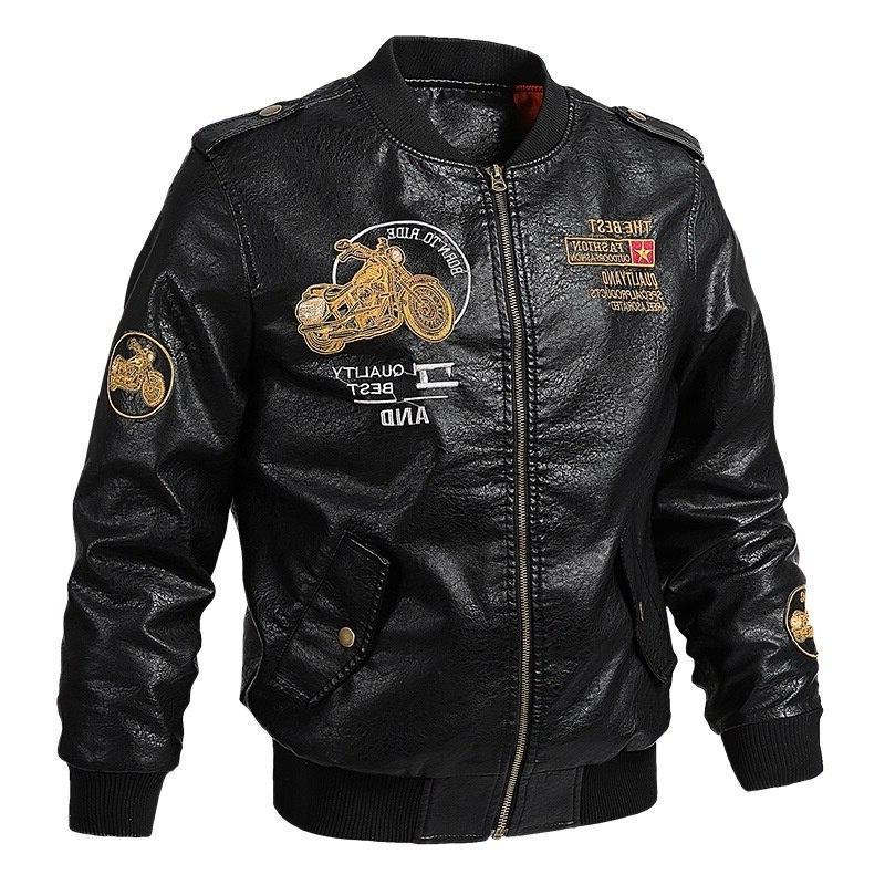 Male Leather Fit Men Collar jaqueta PU Biker <font><b>Jackets</b></font> Casual Faux Fur Fleece