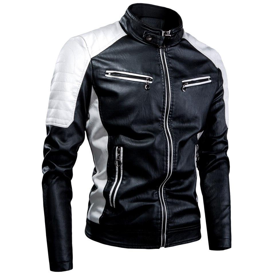 Oumor Casual <font><b>Leather</b></font> Men Fashion <font><b>Leather</b></font> Coat