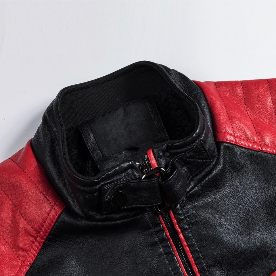Oumor Casual Motor Spliced <font><b>Leather</b></font> Fashion Biker Vintage <font><b>Leather</b></font> <font><b>Jacket</b></font>