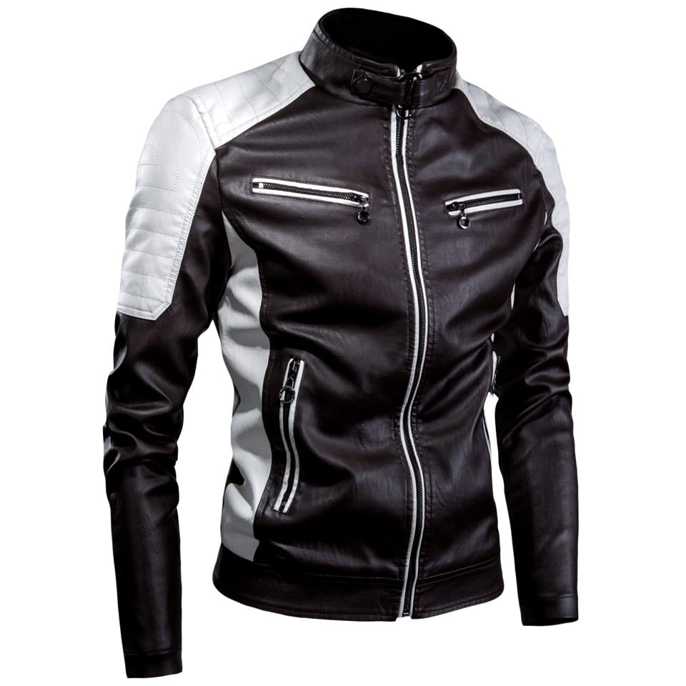 Oumor Casual Motor <font><b>Leather</b></font> <font><b>Jacket</b></font> Men Fashion Vintage <font><b>Leather</b></font> <font><b>Jacket</b></font>