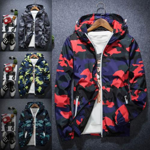 Men Camouflage Hoodie Coat Jacket Outwear Sweater Jumper Zip