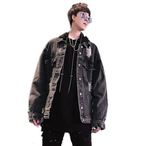 Men Chain decor Loose Coat Punk sz