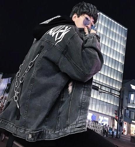Men Chain decor Coat Punk Autumn Outwear Denim sz