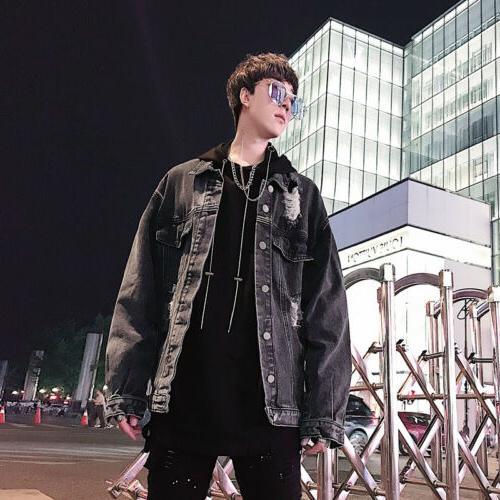Men Chain decor Coat Hiphop Punk Autumn sz