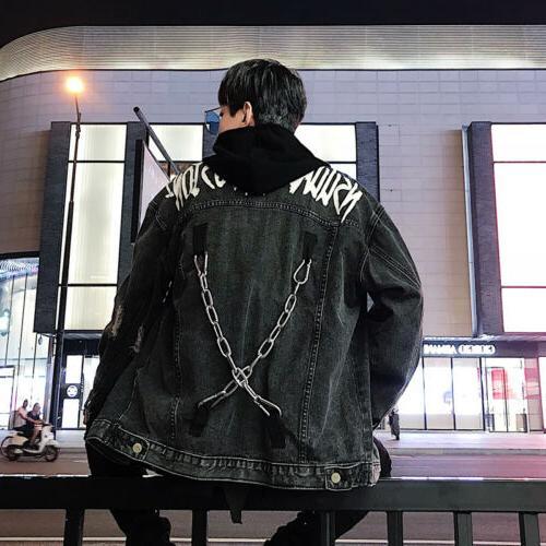 Men Chain Coat Hiphop Punk Autumn sz